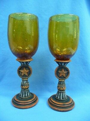 Western Moments Silverado Star Amber Blown Glass Stemware Set of 2 NEW In Box ()