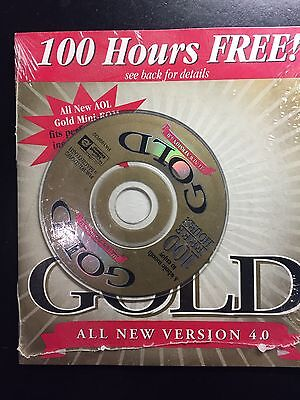 Collectors Cd Aol America Online 100 Hours Free Sealed 4 0 Gold Mini