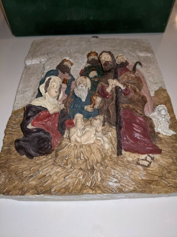 NATIVITY PLAQUE 3D Wall Hanging Hand Painted Holy Family Decor in original box
