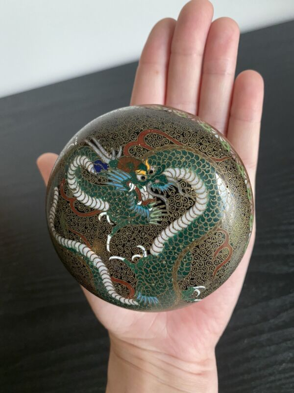 Antique Japanese Cloisonne Lidded Trinket Box Dragon Motif Early 19th C