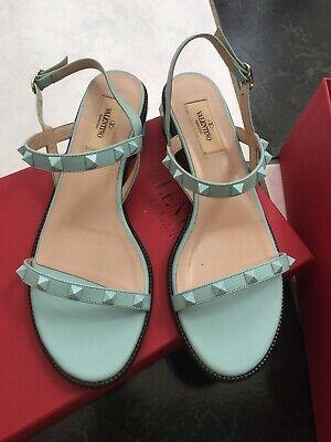 NIB 100% AUTH Valentino Turquoise Rockstud Sandals $695 Sz 39