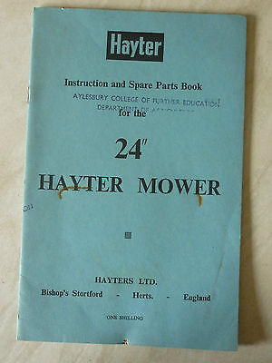 "1964 HAYTER 24"" LAWN MOWER INSTRUCTION PARTS LIST (VILLIERS MARK 15 ENGINE)"