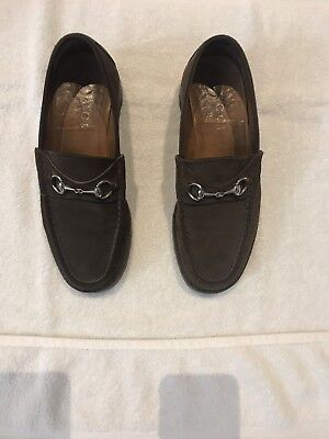 3653f4c5854 GUCCI BROWN SUEDE SILVER HORSEBIT MENS LUG SOLE LOAFERS