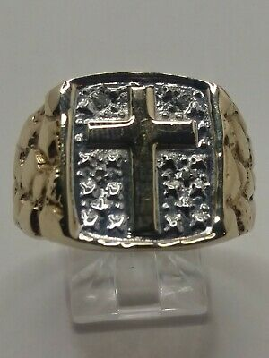 Mens 10k Solid Yellow & White Gold Nugget Style Christian Cross Ring Size -