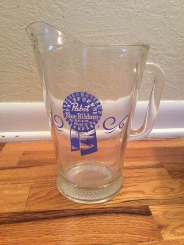 Vintage PBR Pabst Blue Ribbon Beer 58 oz. Glass Pitcher