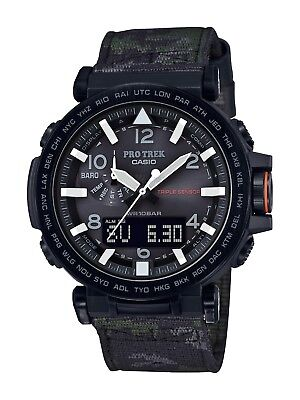 Casio Pro Trek Men's PRG650YBE-3 Solar Ana-Digi Camo Canvas Strap 51mm Watch
