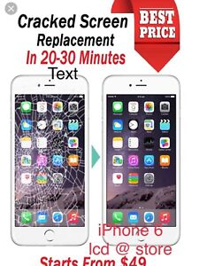 iPhone lcd screen replacement @ your door . Or our store