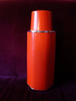 vtg MCM Red UNUSED glass liner Zojirushi thermos w retractable strap psh-550