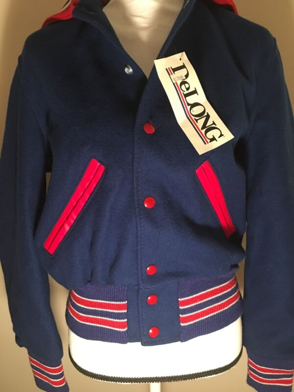 DELONG VARSITY / CHEER JACKET Blue Red White Snaps Made In USA Size Youth Large
