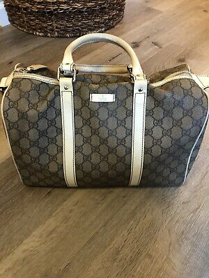 Gucci Joy Medium Boston Bag GG Canvas Beige Ivory Handbag Auth