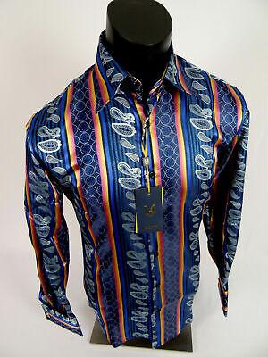 Mens Manzini Shirt Midnight Blue Pink Striped Paisley Cuff Links Button -
