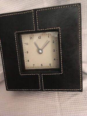 S-TIMES quartz sq stitching desk clock case, black PU leather trim, 1 AA battery