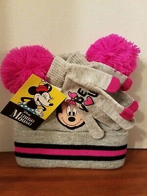 Disney MINNIE MOUSE Gray & Pink Hat Beanie AND Glove SET Bright Pink Ears - Minnie Mouse Ears And Gloves