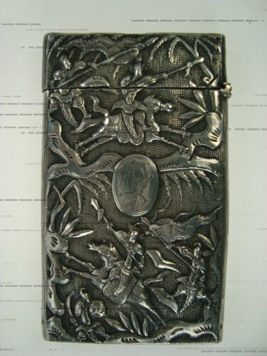ANTIQUE CHINESE EXPORT SOLID SILVER CARD CASE HOLDER WITH WARRIORS MOTIF