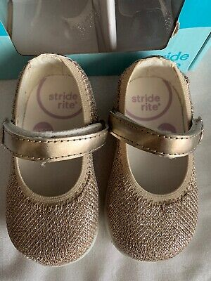 Stride Rite Lil Layla Gold Mary Jane Baby Girl Shoes US Size 3M