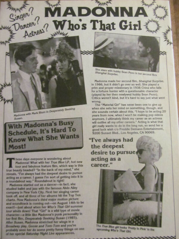 Madonna, Full Page Vintage Clipping