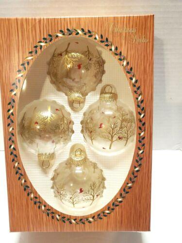 "Christmas by Krebs Set of 4 Ball Ornaments Cardinal Gold Trees 3"""