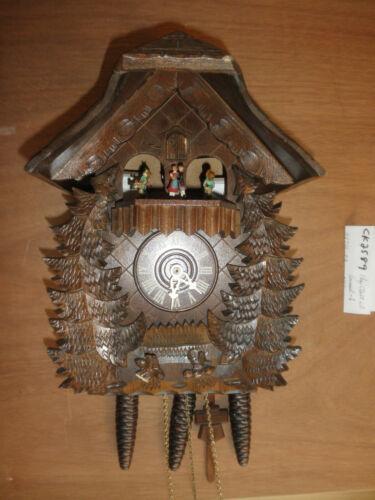 German NIGHT SHUT OFF musical Chalet Hummel Figuenes 1 Day Cuckoo Clock CK2589