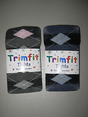 Cotton Tights Girls Argyle Diamond Blue Navy Gray Pink Fits 2-10 years Very Soft ()
