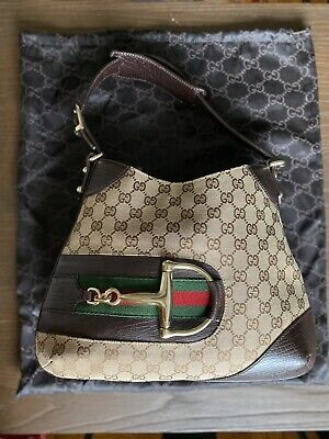 GUCCI GG Canvas Hasler Horsebit Hobo Monogram Shoulder Handbag Tan