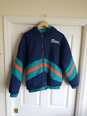 Vintage Miami Dolphins NFL Reversible Mighty-Mac Sports Winter puffer Jacket - Miami Dolphins Reversible Jacket