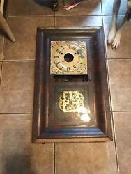 Antique Wall Clock Weight Driven Key Wound Damaged Wood Frame Tin Clock Face