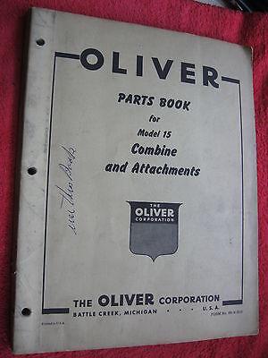 Original 1953 Oliver Model 15 Combine Attachments Parts Book Manual Catalog