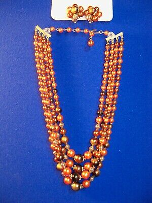 1950s Jewelry Styles and History Vtg 1950's Autumn Fall Browns Multi strand Beaded NECKLACE Japan SET & EARRINGS $12.50 AT vintagedancer.com