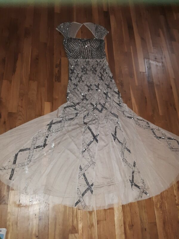ELEGANT ADRIANNA PAPPELL FORMAL GOWN PROM MOTHER OF BRIDE SEQUIN CHAMPAIGN sz 8