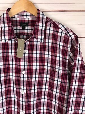 Front Check - J Crew Men's Red Check Plaid Button Front Thick Cotton Flannel Shirt Large NWT