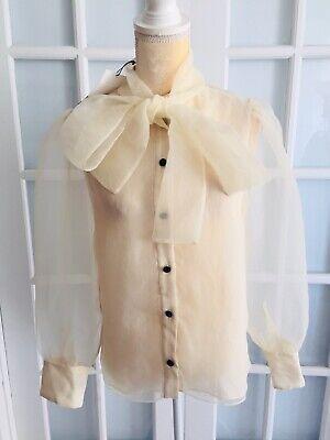 NWT ZARA Beige ORGANZA BLOUSE WITH BOW DETAIL Semi Sheer Fashion Size M  O1873