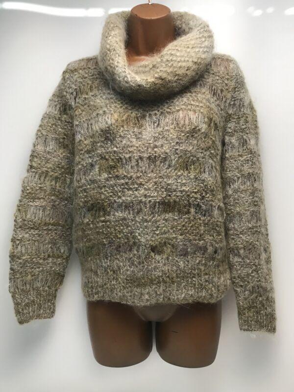 Vintage BERNAT KLEIN Mohair Wool Blend Hand Knit Turtleneck Sweater Size Small