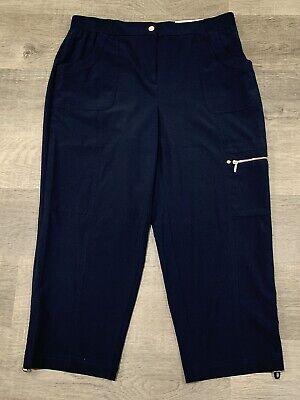 New Chicos Zenergy Grace $75 Crop Pants Elastic Waist Flat Front Navy 1 Medium Grace Crop Pant