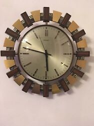 Vintage Retro 1970's Metamec Sunburst Quartz Wall Clock Mid Century Wood Brass