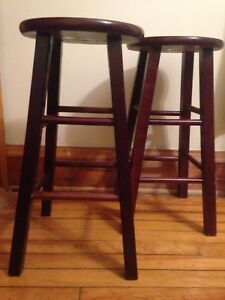 Stool - two wooden counter height stools