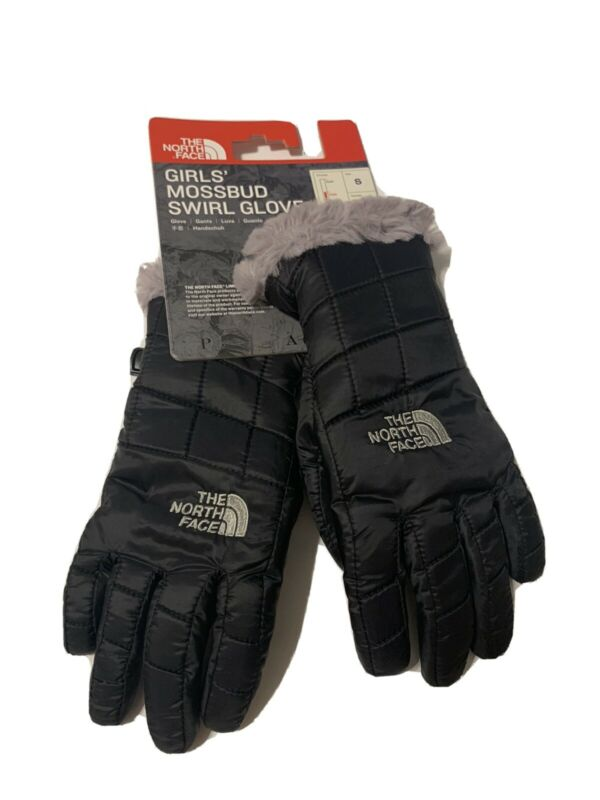 THE NORTH FACE GIRLS BLACK MOSSBUD SWIRL YOUTH GLOVES Small NEW NWT Winter