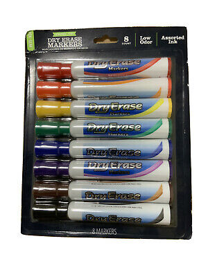 Rainbow Multi-colored Chisel Tip Dry Erase Marker Eight Pack Lot Of 3