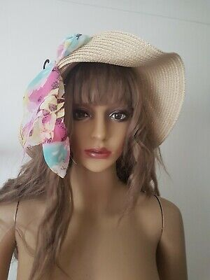 Floral Straw Hat (INTUITION Pretty Ladies Floral Straw Hat Summer Natural One Size )