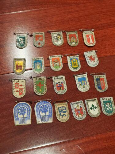 set of 21 WW2 german WINTERHILFSWERK TINNIE PIN WORLD WAR city badge WHW tinnie