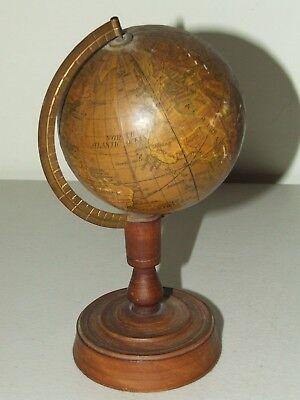"Antique 1914-1924 Japanese 3.5"" Mini World Globe with Stand - Y. Sukagawa Tokyo"