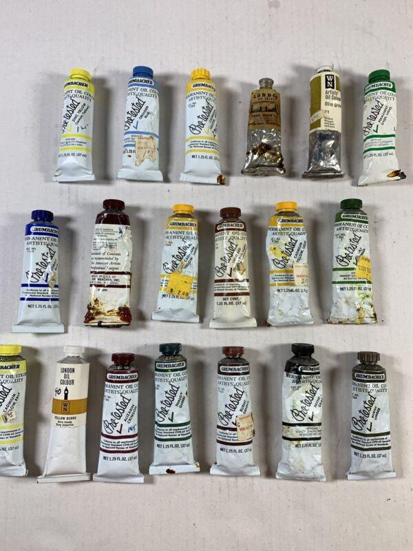 Grumbacher Vintage Oil Color Paint 1.25 Ounce Lot of 16 + 3 Bonus London Oil WN