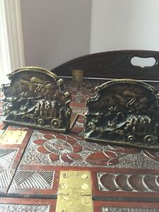 Vintage pair brass ye olde coaching days bookends