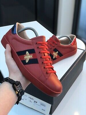 GUCCI Ace Trainer Red With Embroidered Bee, 100% Authentic Size 8