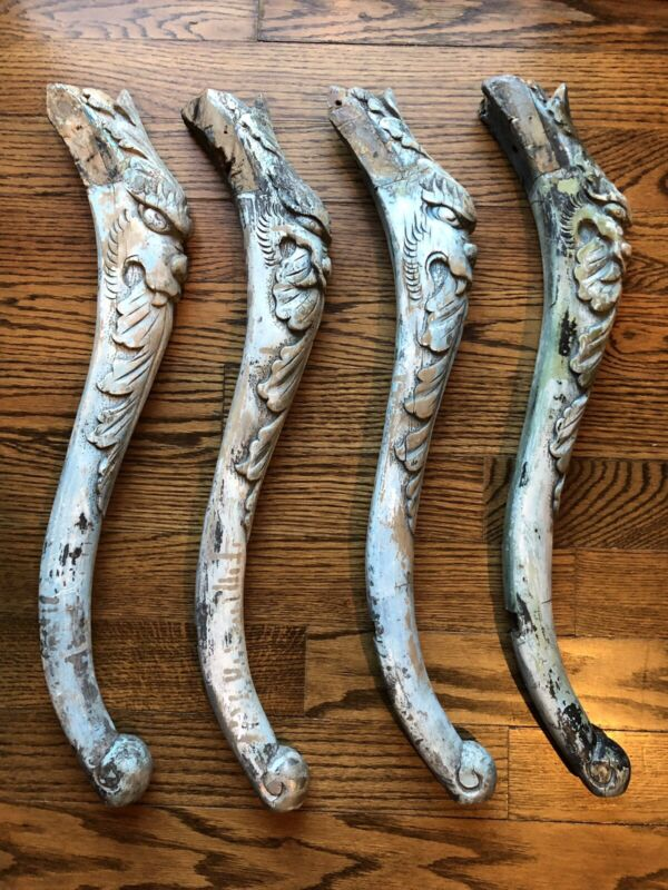 Reclaimed Table Legs Salvage Asian Fanged Demons Set Of 4