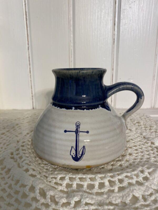Vintage No Spill NonSlip Travel Wide Bottom Ceramic Coffee Mug Blue & Cream ⚓️