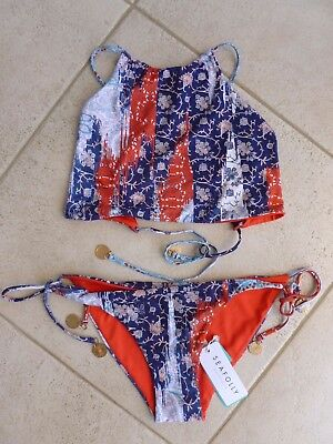 Seafolly Bikini 12 Out of the Blue Reversible High Neck Tank Top & Tie Side Pant
