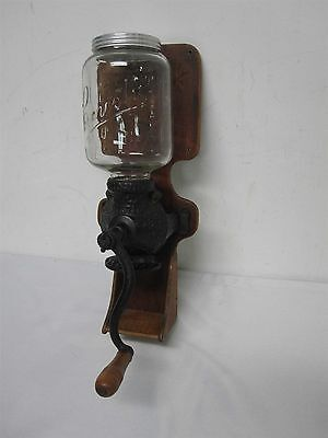 VINTAGE ARCADE CRYSTAL NO 3 WOOD WALL MOUNT COFFEE GRINDER