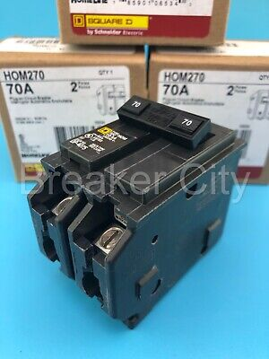 Hom270 - Square D 70 Amp 2 Pole Type Hom Homeline Plug In Circuit Breaker New