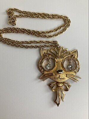 60s -70s Jewelry – Necklaces, Earrings, Rings, Bracelets Vtg 1960s Rafaelian Goldtone Pendant Cat Kitten Necklace Rhinestone Eyes Chain $60.00 AT vintagedancer.com