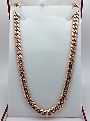 """10k Rose Gold Solid Heavy Cuban Link Chain Necklace 24"""" 10mm 155 grams"""